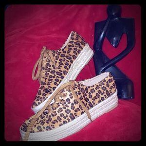 Suade Cheetah Print Espadrille Shoes
